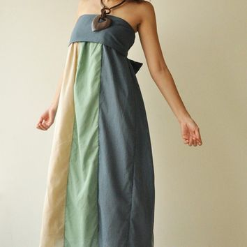 The Line Part II Green Blue Maxi Cotton dress by aftershowershop