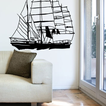 Vinyl Wall Decal Sticker Antique Sailboat #OS_MB623