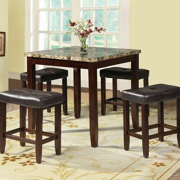 Acme 71090 5 pc ainsley square faux marble espresso finish wood counter height dining table set
