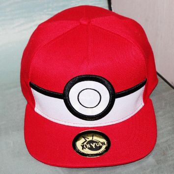 Trendy Winter Jacket Cartoon Pokemon ball Cosplay Baseball Cap Red Pikachu Novelty Anime Poke Ball ladies men Hat charm Costume cap AT_92_12
