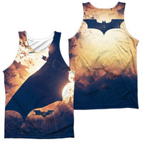 BATMAN BEGINS/COLONY (FRONT/BACK PRINT)-ADULT 100% POLY TANK TOP-WHITE