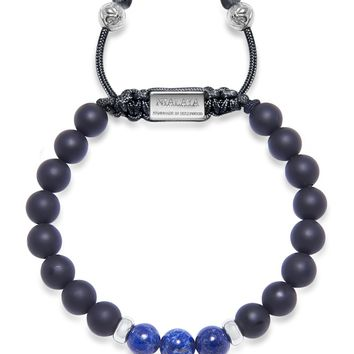 Men's Beaded Bracelet with Matte Onyx, Blue Lapis and Silver
