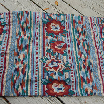 Vintage 80s Tribal Floral Ikat Upholstery Fabric 1.75 Yard w/ Bonus Remnant Yardage 54 Inches Wide