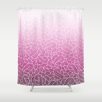 Ombre pink and white swirls zentangle Shower Curtain by Savousepate