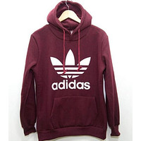 """Adidas""Trending Women Men Print Hooded Pullover Tops Sweater Sweatshirts Wine Red G"
