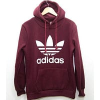 """Adidas"" Fashion Women Men Casual Big Logo Print Hoodie Sweater Sweatshirts Pullover Top(10-Color) Wine Red I"