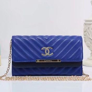 ONETOW Chanel' Fashion Personality V Embossed Double Layer Flip Metal Chain Single Shoulder Messenger Bag Women Clutch