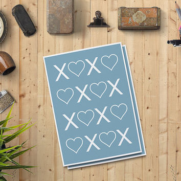 "Valentine's Day Card for him, XOXO Card for him, Love Card, Heart Printable Card 5""x7"" Instant Download - Heart Digital Print - on SALE 50%"