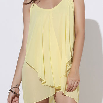 V-Neck Sleeveless Asymmetrical Chiffon Dress
