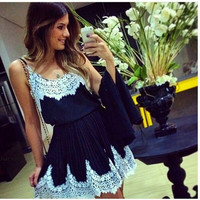 Women white lace patchwork black dress cute vestidos