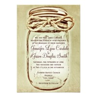 Mason Jar Rustic Country Wedding Invitations