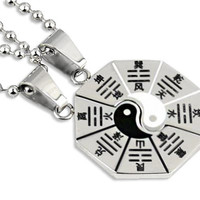 Taiji Eight Diagrams Transcultural  Couples Necklace Set, Hand stamped Titanium puzzle Necklace,Customized Monogram Anniversary Gift
