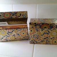 Mid Century Modern Metal Recipe Boxes, Set 2 Index Card Holder Box, Flower Print Hippie Bohemian Decor, Kitchen Vintage, FREE US Shipping