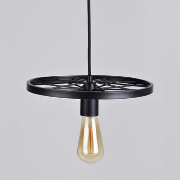Vintage Rustic Style Barn Wheel Pendant Ceiling Light, Matte Black, 2 Sizes