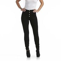 Nicki Minaj  Women's Button Front Jeans - Black Rinse