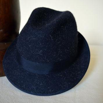 Dark Blue Tweed Wool Felt Trilby - Narrow Brim Furry Wool Felt Handmade Trilby Fedora Hat - Men Women