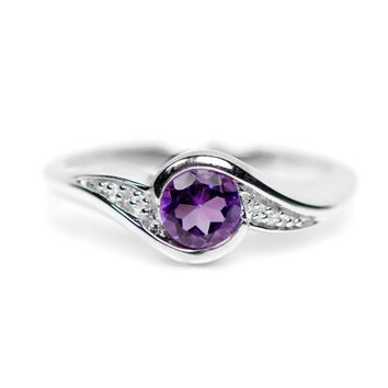 Sterling Silver Round Amethyst and Diamond Ring