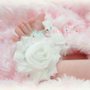 Baby Barefoot Sandals/ White Baby flower Sandals