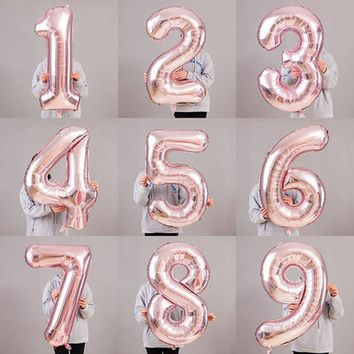 "32"" Inch Giant Rose Gold Birthday Helium Foil Mylar Balloon Birthday Wedding Decorations & Supplies Big Number Anniversaire Gift"