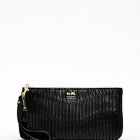 Black leather Madison clutch / Coach