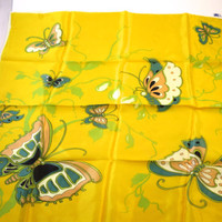 Yellow Butterfly Scarf  Aqua Blue Pink Green Butterflies on Bright Yellow 1970's Acetate Square Scarf 23 in