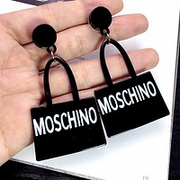 MOSCHINO Fashion Ladies Chic Letter Earrings Accessories Jewelry Black