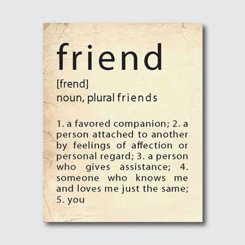 Typography art poster - friend definition - print - friendship gift - vintage, turquoise, emerald, black
