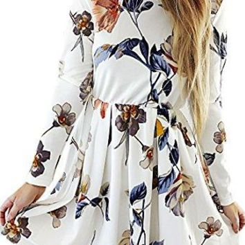 Angashion Womens Dresses Casual Floral Print Long Sleeve Swing Pleated Skater A Line Mini Dress,White,Medium