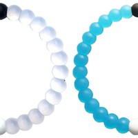 2 Fashion Silicone Style Balance Water Bracelets. Bangle Bracelet for Teens - Friendship. Colors of Beads - Blue/White Combo All Sizes - Represent a Balanced Life (Medium)