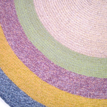 Large Blue Yelow Violet  Melange Round Crochet Rug Bedroom Rug Kitchen Rug Livingroom Rug