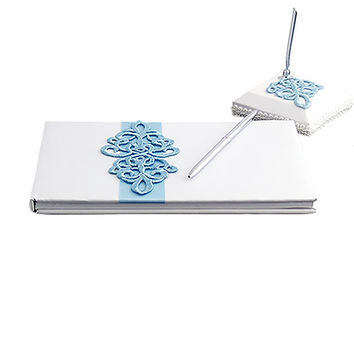 White Satin Wedding Guest Book and Pen Set with a Teal Scroll Design