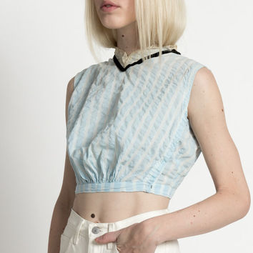 Antique Edwardian Pale Blue Striped Sleeveless Blouse with High Lace Neck | XS