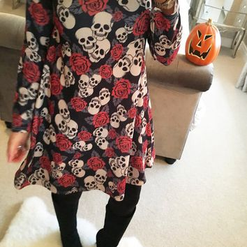 Halloween Black Skull Print Long-Sleeved Dress