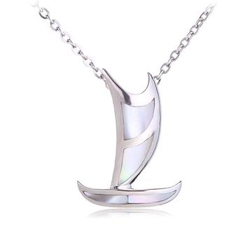 Polynesian Voyaging Canoe Sterling Silver Pendant with Mother-of-pearl Inlay Small(Chain Sold Separately)