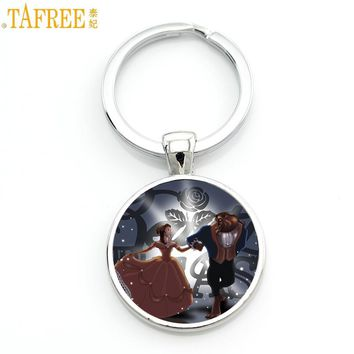 TAFREE 2017 New fashion movie beauty and the beast keychain cute cartoon princess charm men women bag key chain ring holder CT11