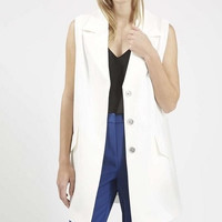 Sleeveless Notched Button Long Blazer