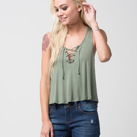 CHLOE & KATE Lace Up Womens Tank | Tanks