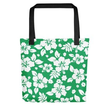 Hawaiian Tropical Hibiscus Green and White Pattern Tote bag