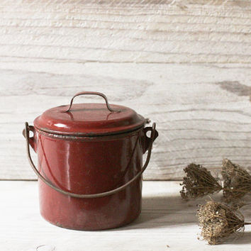 Vintage rustic lunch pail, Enamelware, Burgundy Red enamel lunch box, Back to school, Kitchen decor