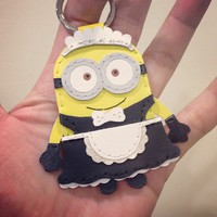 Inspired Cartoon Character - Despicable Me Maid Minion Handmade Leather Keychain / Charm ( Yellow / Black )
