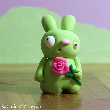 Cute Bunny Figurine with Rose - Handmade Polymer Clay Sculpture - Geeky Desk Accessory - Gift Card Included