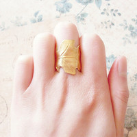 Gold Leaf Ring - Gold Leaf Jewelry Oak Leaf Ring Oak Leaf Jewelry Woodland Ring Nature Ring Nature Jewelry Forest Ring Autumn Fall Cute