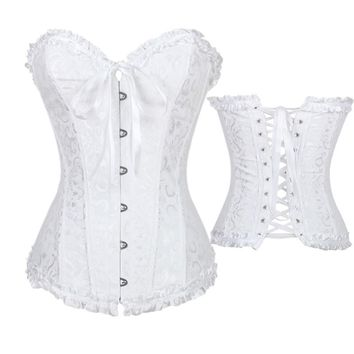 S-6XL Sexy White Satin Bone Lace Up Steampunk Corset Sexy Bustier Women Corselet Corset and Bustier Corset Overbust Slim Corset