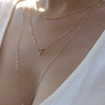 Elegant Three-layered Hollow Triangle Pendant Necklace For Women