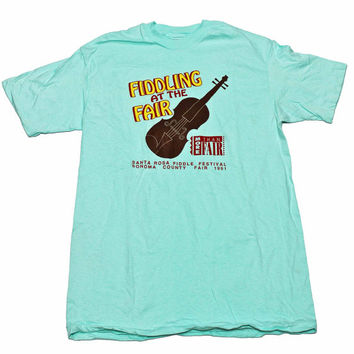 Vintage 1991 Fiddling at The Sonoma County Fair Teal Shirt Made in USA Mens Size Large (Slim Fit)