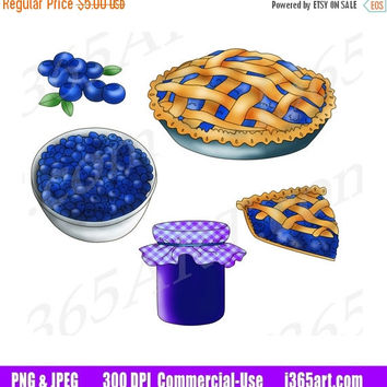 50% OFF SALE Blueberry Clipart, Blueberry Clip Art, Blueberry Pie, Fruits, Blueberry Jam, Digital Graphics, Scrapbooking, PNG, Commercial