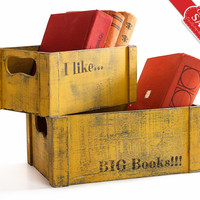 Christmas gifts-Librarian Gifts-Book lover gift-SET 2 Personalized Vintage Wooden Crates-Customized Bookends-Gift for Teacher