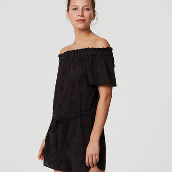 LOFT Beach Eyelet Off the Shoulder Romper | LOFT