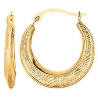 10K Yellow Gold Weave Texture Design Round Shape Hoop Earrings