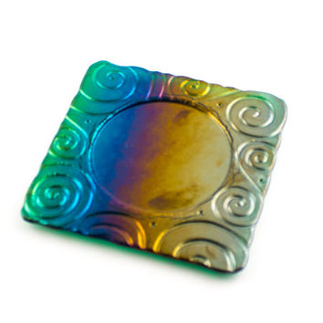 Wine Coaster, Rainbow Colors, Fused Glass, Candle Plate, Imprinted Design, Bar Accessories, Bottle Decor, Cool Gifts for Men, Wine Gift